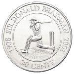 2001 UNC 20c Coin - Sir Don Bradman